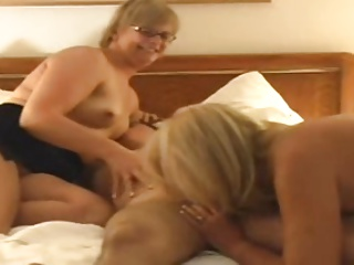 3 mature ladies in groups sex with younger guy part1