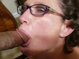 Grandmother In Glasses gargles monstrous ebony man sausage