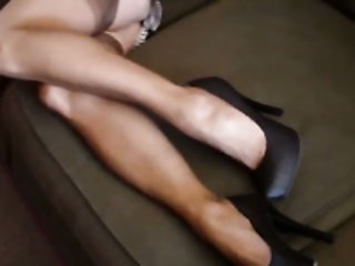 Slender and hot milf wife teases me with her stockings and feet