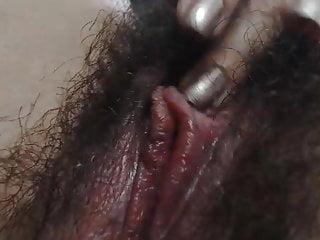 Wooly super-bitch displays you her vagina up close