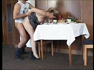 Bosomy housewife enjoys fervid rear banging after lunch