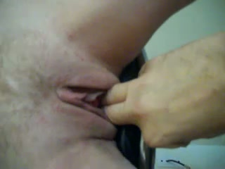 Blonde white wife on the stool gets her pussy fingered hard