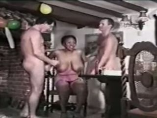 Mature dark-hued juggs gang-fuck