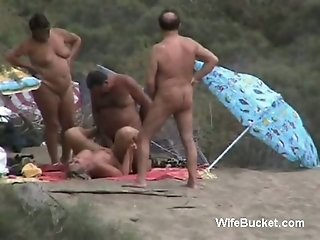 Mature swinger couples spied outdoors sharing partners