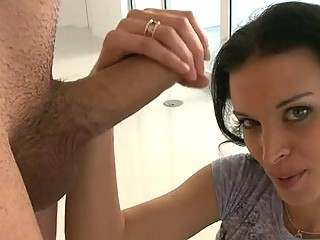Hot mature babe is stud with soaked blowjob