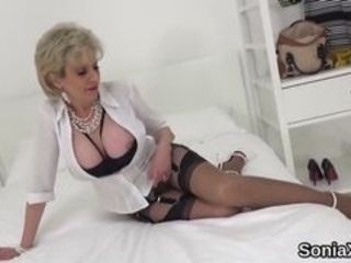 Big jugged bicurious housewife dame sonia fumbles her monstrous breasts and elations pinkish coochie in undergarments