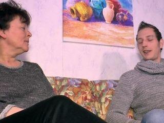 German elder grandmother pokes grandson first-ever time