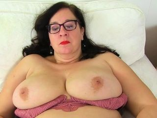 Huge-chested plus-size cougar Jane from England works her mammary vag