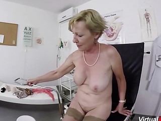 Ginormous breast wooly thicket grandmother gets raunchy point of view finger-tickled and ravaged by her medic