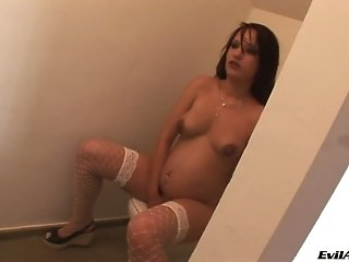 Pregnant tattooed chick ride shard cock face to face