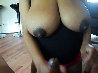 Ebony wife handjob, big boobs 02