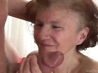 Old nanny gives good deepthroat blowjob to one dude living nextdoor