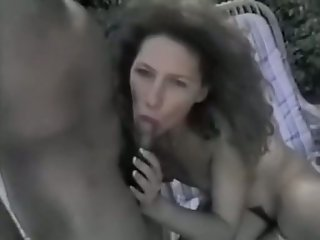 Lusty French whore wife gives blowjob to her neighbor outdoor