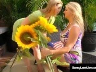 """""""Lovely Sunny Lane & buxom platinum-blonde Vicky Vette bang Poolside!"""""""