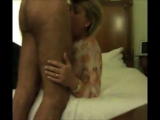 Blonde milf hot housewife learns deepthroating my dick