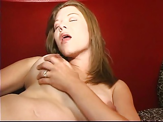 Horny pregnant chick fucks herself with two-headed dildo in her cunt and ass