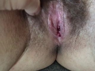 Rubbing a huge fur covered wife's gash