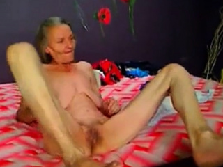 Bony wooly grandma frolicking on web cam