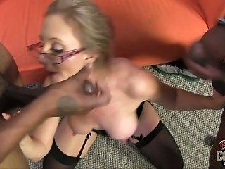Perverted big breasted blonde mature hoe Jenna Covelli works on fat BBCs