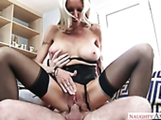 Buxom blond MILF in sexy stockings had hot mish pose fuck on sofa