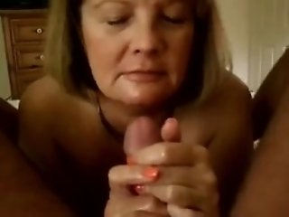 Amazing POV handjob action with my mature brown-haired wife