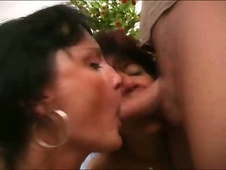 Two slutty mature brunettes show their blowjob and rimjob skills