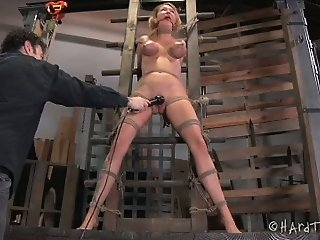 Tied up and restrained slut gets her pussy fucked with stick bdsm sex clip
