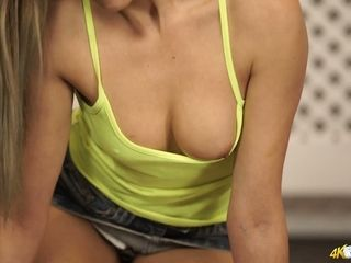 Glamorous bosom of sex-appeal youthfull housewife Jenny