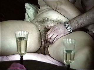 Fingerblasting grandmother with large unshaved pubic hair on couch