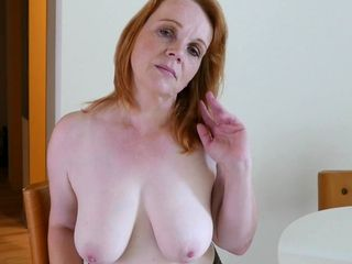 Senior red-haired lady is here to wank intensively