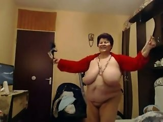 This BBW granny is a total exhibitionist and those giant boobs are epic