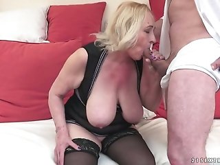 Lusty granny gets her puffy slit licked and fucked by horny young dude