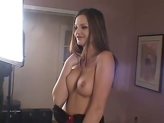 Nasty brunette MILF jumps on one dick and sucks the other for joy