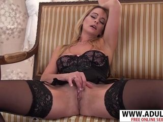 Highly exciting cougar strokes In underwear