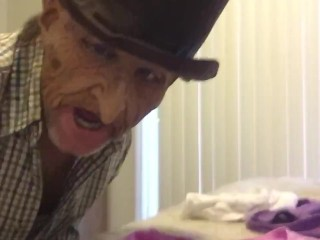 Creepy elderly fellow nuzzles filthy mammary STOLEN underpants (creepy and funny) !!!!