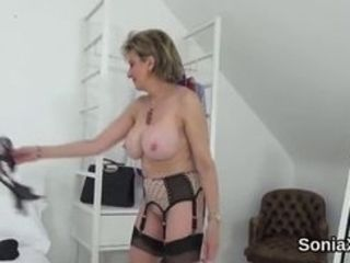 Total boobed bisexous housewife chick Sonia fumbles her giant fun bags and jacks opened up fuck-hole in undergarments