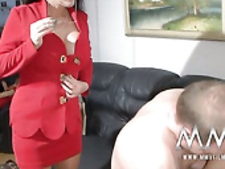 Fat light haired MILF rides small dick of her shy hubby in face to face pose