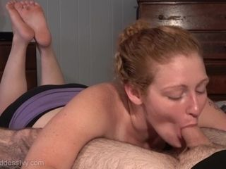 Inborn red-haired cougar Ivy deep-throats a explosion out of Hubby's pulsating spear