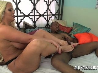 Alura Jenson milks off a dark-hued salami with her soles