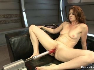 Beauty bootie sandy-haired housewife smashing machine