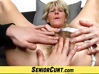Close-ups of hairy old pussy of czech granny Hana