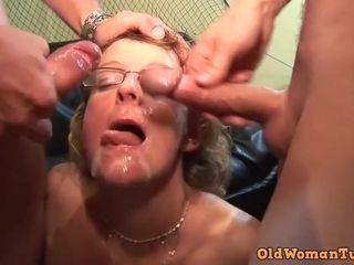 Crazy grandma in glasses first-ever pornography vid