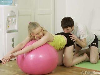 18Yo student Excercises In sport bedroom