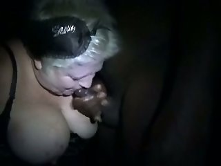 Chubby disgusting wrinkled and perverted white mature slut gives BJ