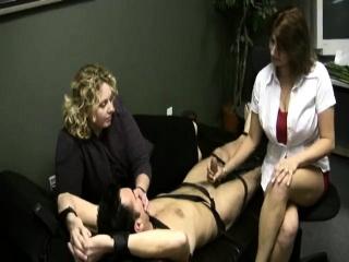 Mature female dominance hand job cum-shot