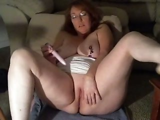 My redhead wife kneads her tits and masturbates in homemade solo