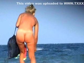 Mature towheaded naturist cougar Beach spycam SpyCam Hd video