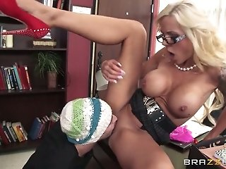Busty blond MILF in glasses let her boy eat her sweet kitty