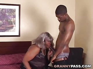 BBW Ebony Granny Takes youngster chunky clouded flannel
