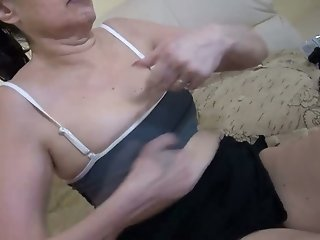 Disgusting dirty old brunette bitch uses dildo to fuck her smelly cunt